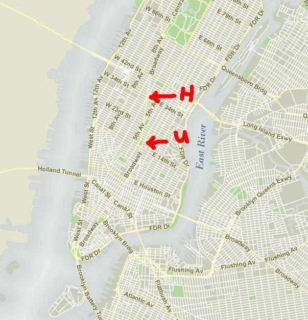 New York - History - Geschichte: Herald Square to Union Square via Doitt Map on