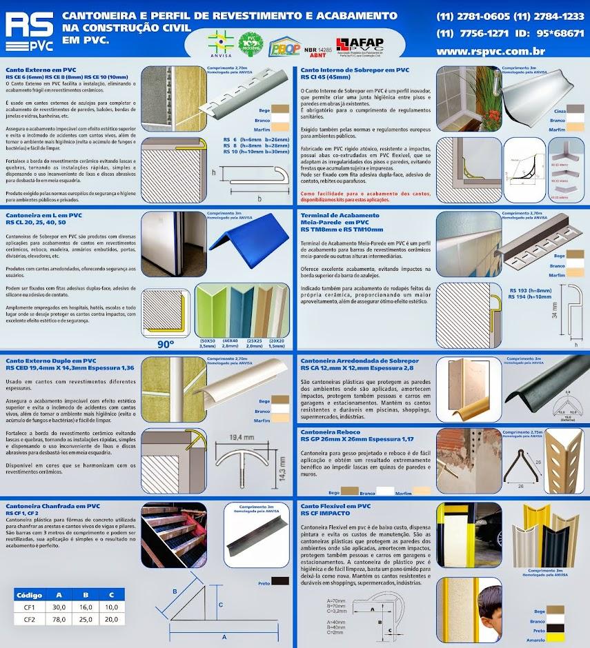 RS PVC® CANTONEIRAS PERFIL  PLÁSTICAS  PVC  RS PVC® JUNTA DILATAÇÃO PLÁSTICAS ESPAÇADORES .
