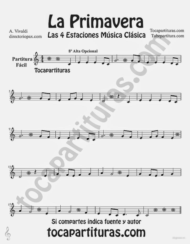 "Tubepartitura La Primavera de Antonio Vivaldi Partitura para Flauta Fácil ""Las Cuatro estaciones de Vivaldi"""