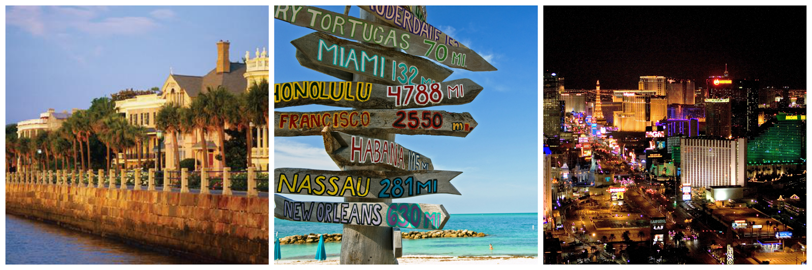 National Wanderlust Collage - Charleston, Key West, Las Vegas