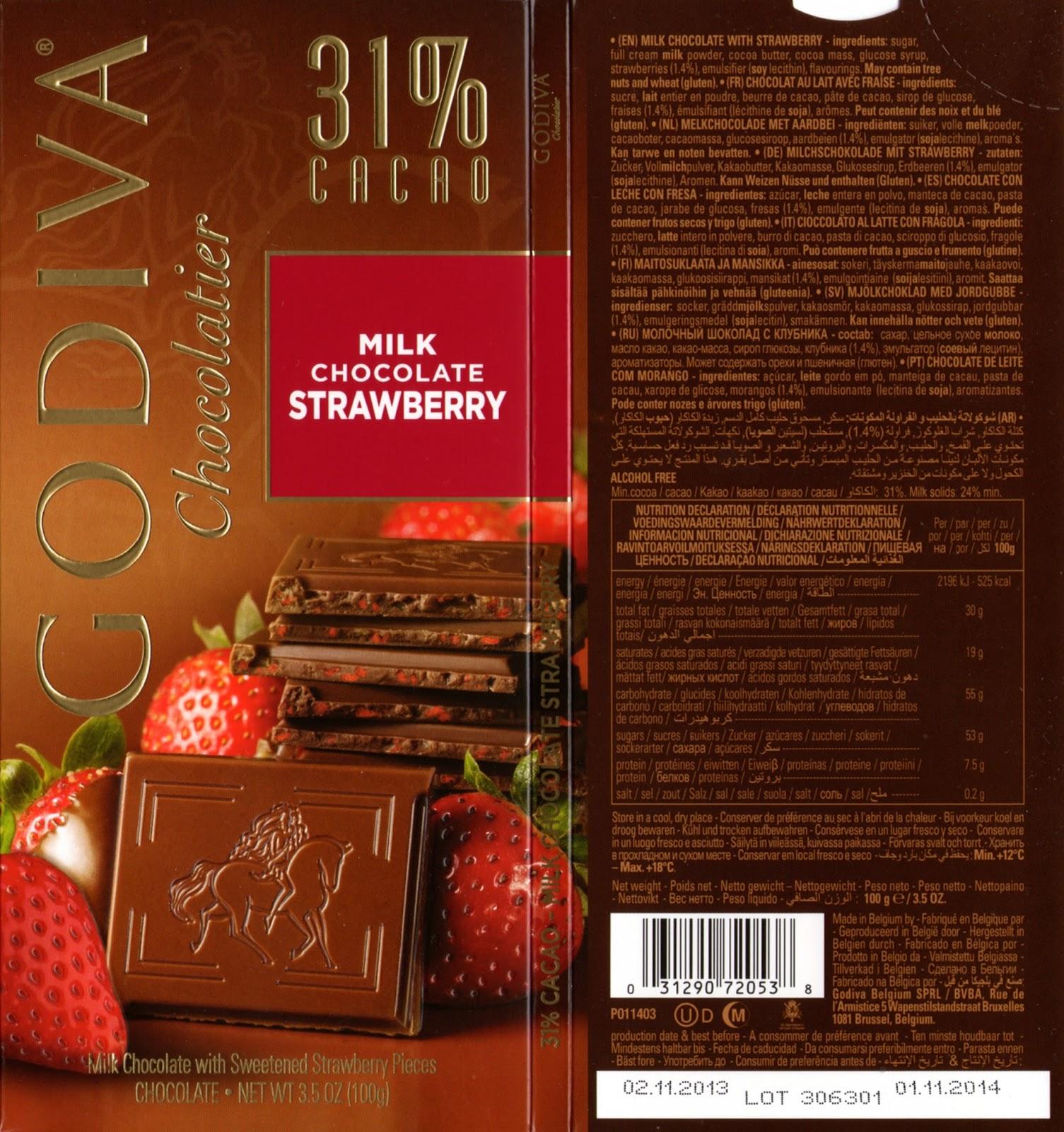 tablette de chocolat lait gourmand godiva lait fraise