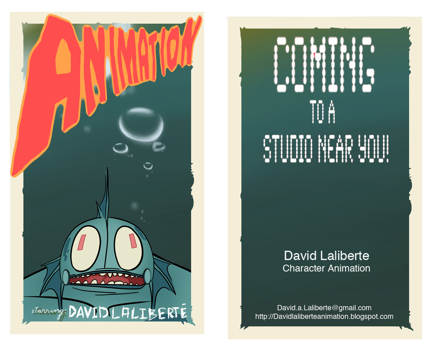 David laliberte animation business card ideas here are the two business card ideas i had colourmoves