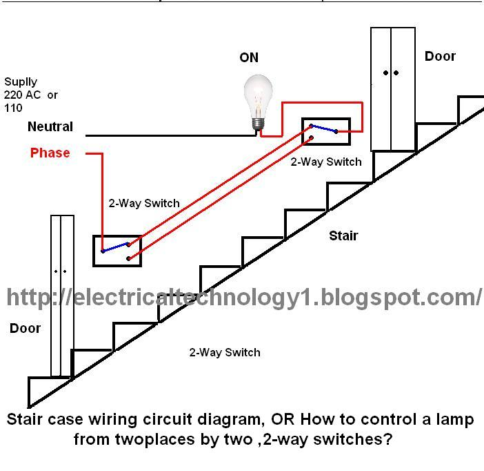 Electrical technology: Stair case wiring wiring diagram, OR How to ...