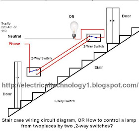 electrical technology: stair case wiring wiring diagram, or how to control  a lamp from two different places by two ,2-way switches?  electrical technology - blogger
