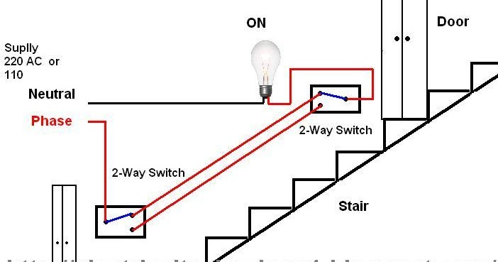 Staircase Wiring Diagram Using Two Way Switch : Electrical technology stair case wiring diagram