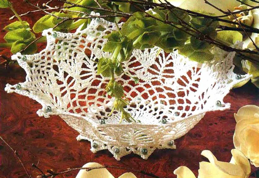 canasta decorativa tejida en crochet