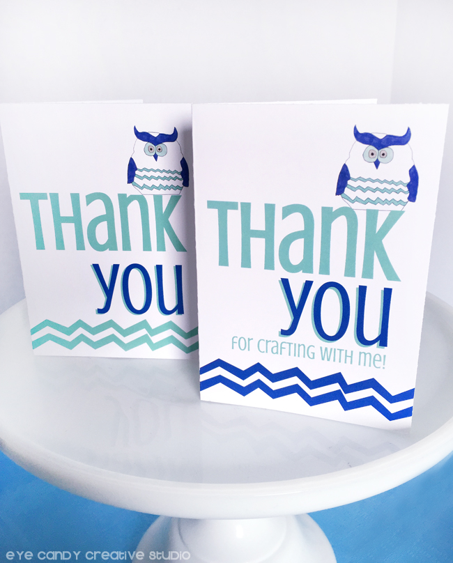 owl, craft party, thank you notes, craft birthday thank yous, chevron