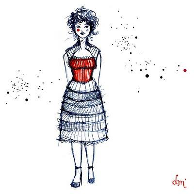 femme tenue rétro dessinée au stylo