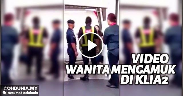 VIDEO: Wanita mengamuk tendang Polis Bantuan Air Asia di  KLIA2