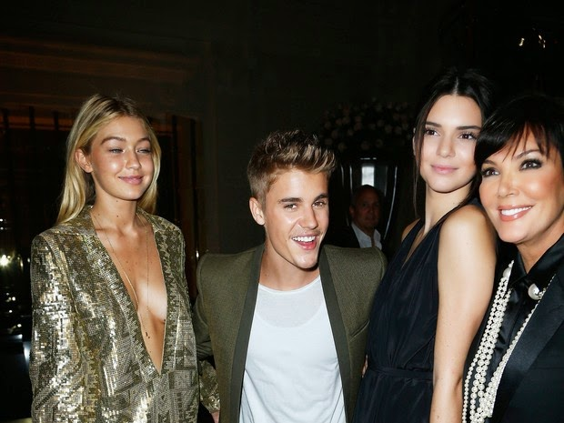 Gigi Hadid, Justin Bieber, Kris Jenner and Kendall Jenner in event in Paris