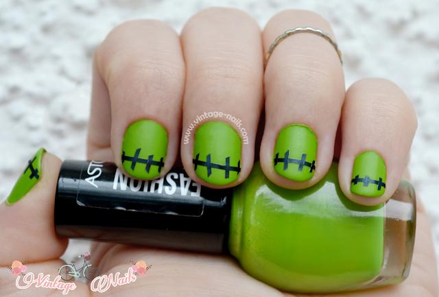 Halloween, Frankestein, nail art, manicura, Astor