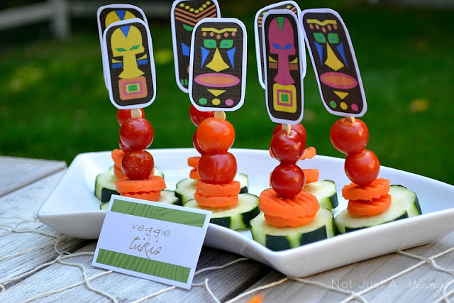 Aloha To Summer Party kids table veggie totems