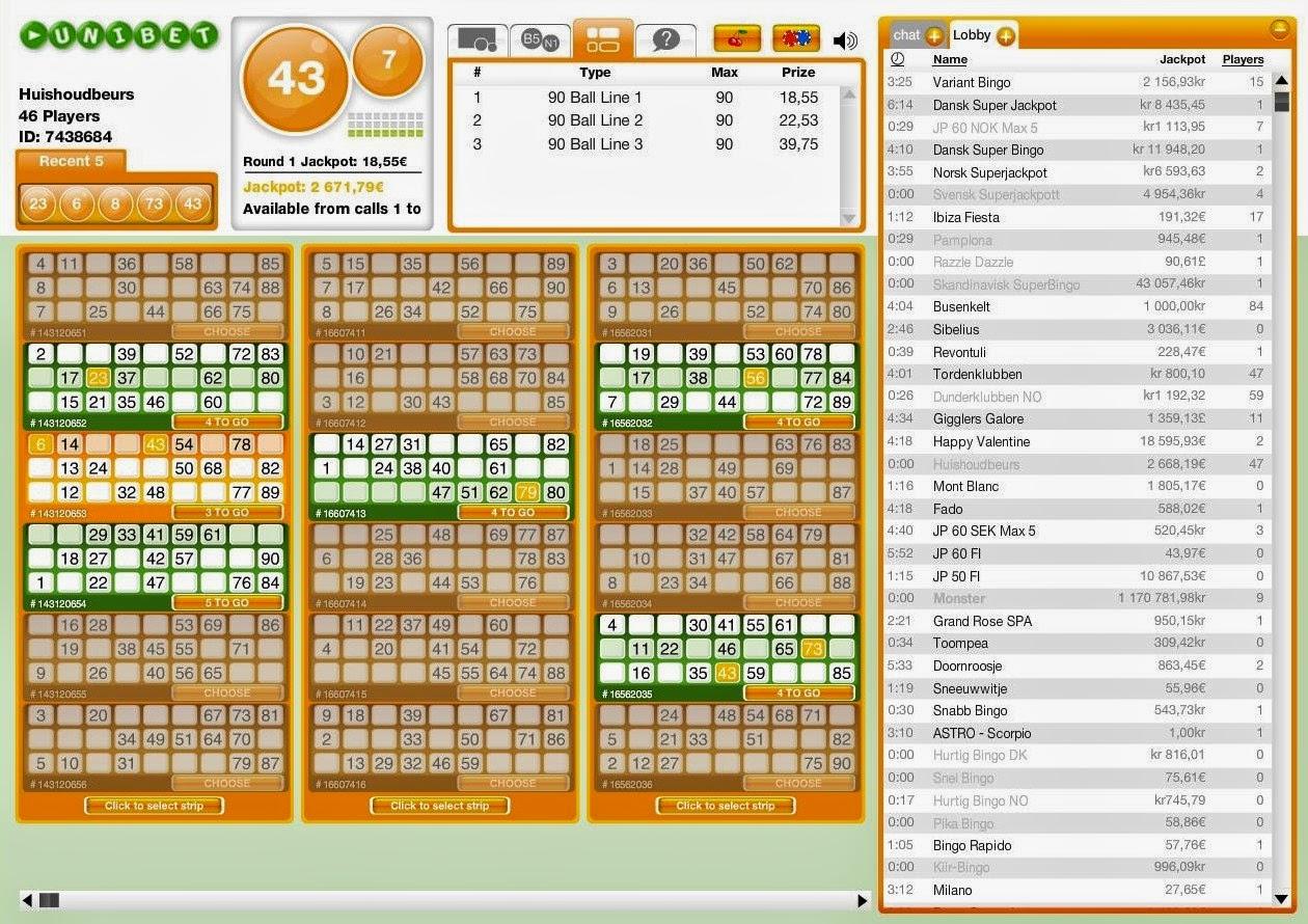 Unibet Bingo Win Ticket Screen