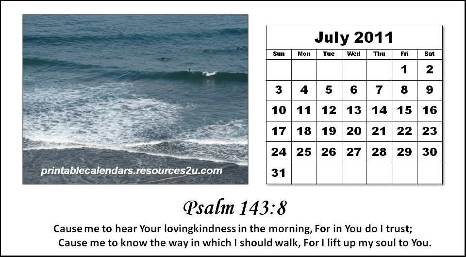 printable calendars july. Christian Calendar 2011 July