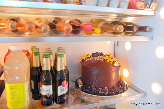 chilling a cake in the fridge to keep it from melting