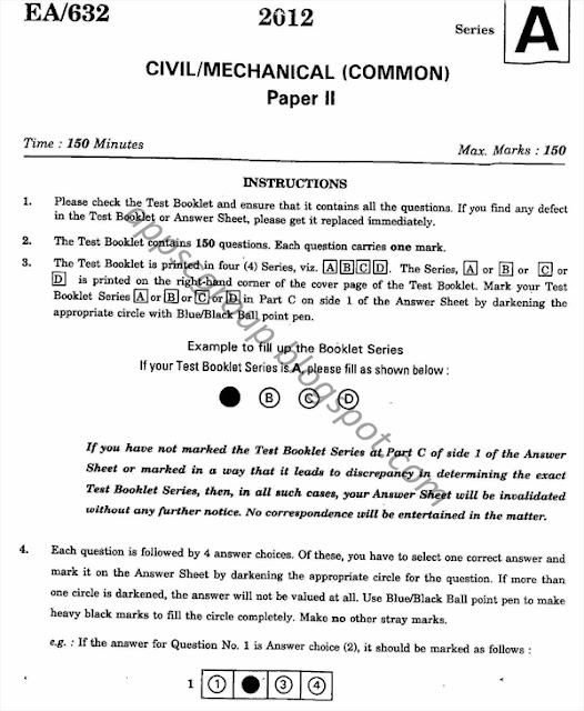2012 Civil Engineering: AEE Civil / Mechanical Common Previous Technical Paper -2