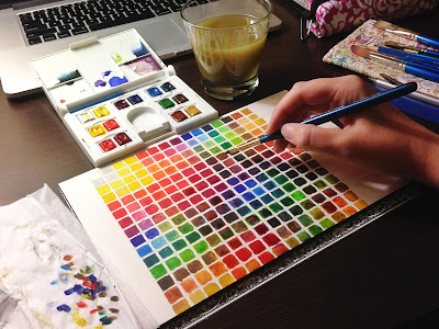 watercolor color chart for color mixing