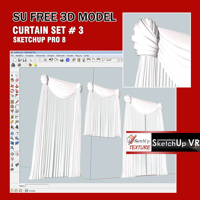 sketchup model curtains set #3