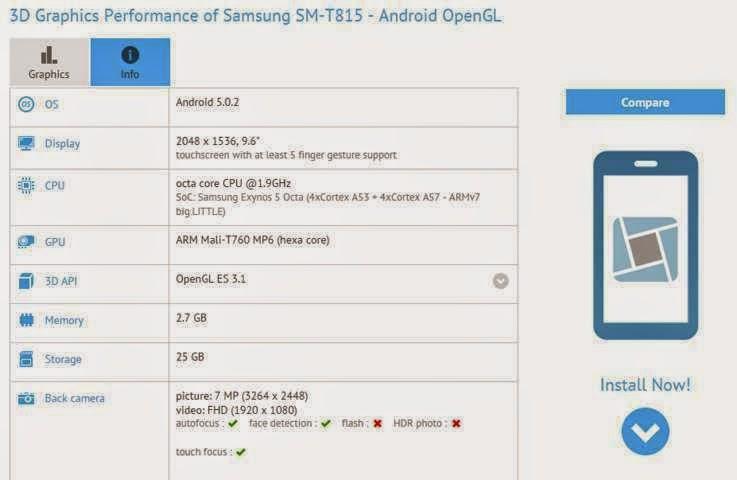 Inilah spesifikasi lengkap Samsung Galaxy Tab S2 9.6 inch, dengan chipset Exynos 7420