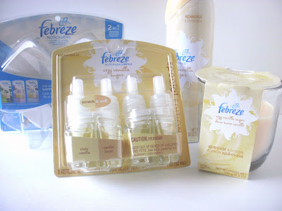 Febreze Holiday NOTICEables, Cozy Vanilla Spray, Febreze Vanilla Candle