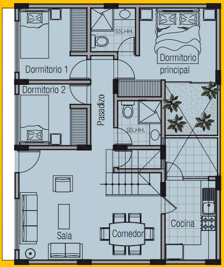 PLANO DE VIVIENDA DE 8m x 10m by planosdecasas.blogspot.com