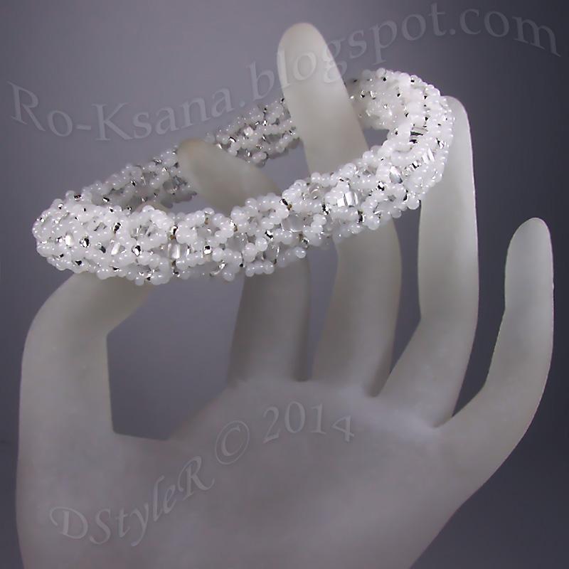 DIY beading circle-bracelet Snow and Ice netting bead-rope Рукодельный ажурный браслет Снег и лед с чешскими бусинами трехгранными