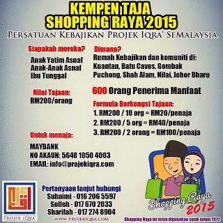 Sumbangan Shopping Raya Projek Iqra' 2015