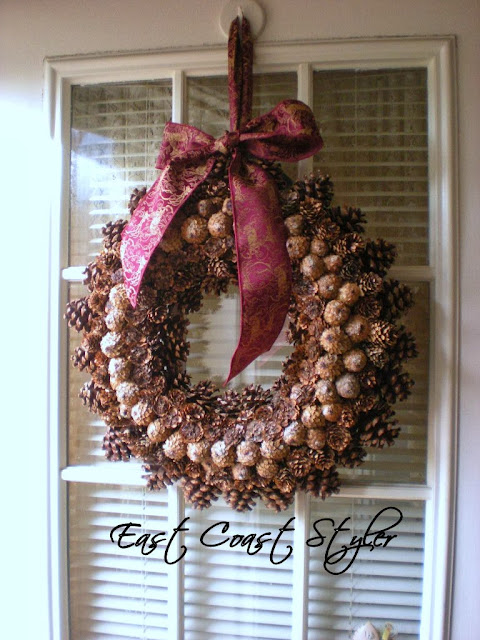 pinecone door wreath holiday DIY