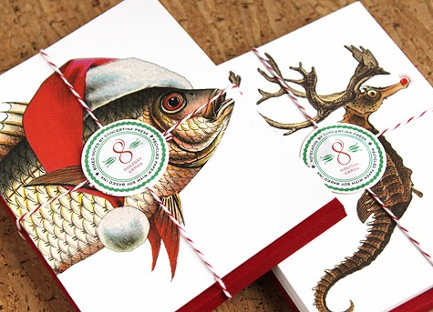 Fish and Seahorse Christmas Cards by Concertina Press