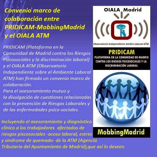 Mobbing Madrid y el OIALA ATM firman convenio de colaboración para el asesoramiento en riesgos psicosociales