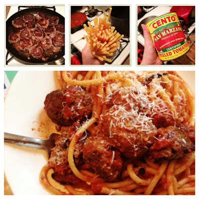Spaghetti with meatballs, bucatini with meatballs