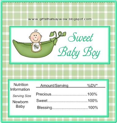 Sweet Baby Boy in Green: Free Printable Chocolate Wrapper.