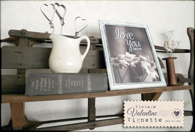 Vintage Valentine Decor on a Shelf via http://deniseonawhim.blogspot.com
