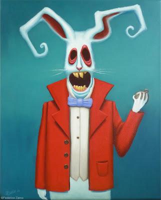 imagen de conejos blancos con ojos rojos son gigantes de alicia en el pais de las maravillas