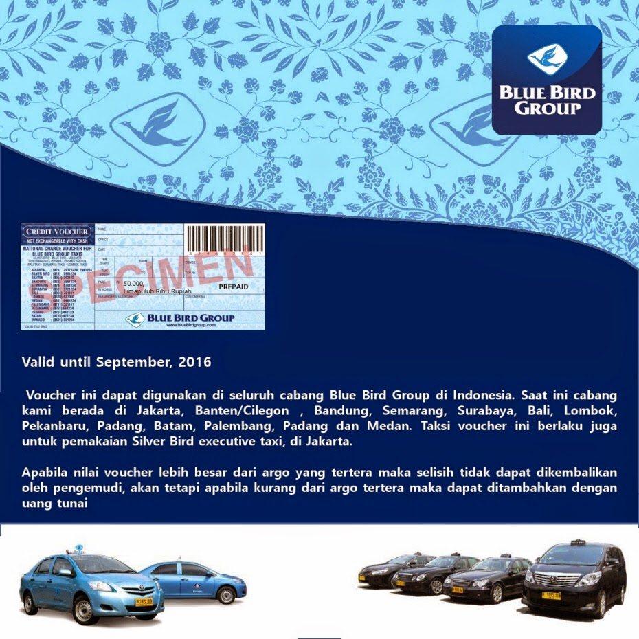 Voucher taxi blue bird