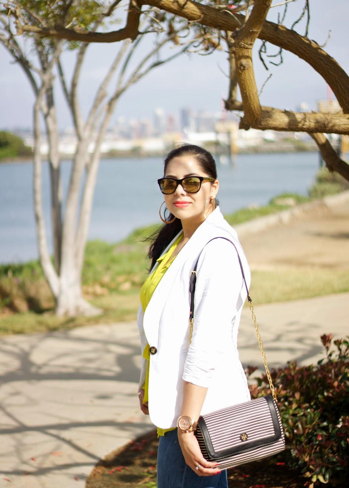 White Linen Blazer and stripes, Striped purse, tory burch striped purse, Tory burch purse on sale
