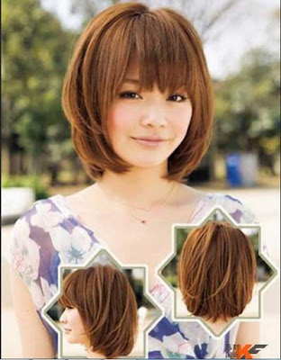 model cantik potongan rambut bob berponi wanita jepang