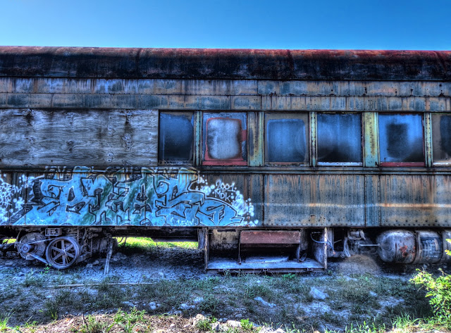 Old Graffiti Grey Train Car - Straight on Shot - Austin Steam Train - Cedar Park, Texas