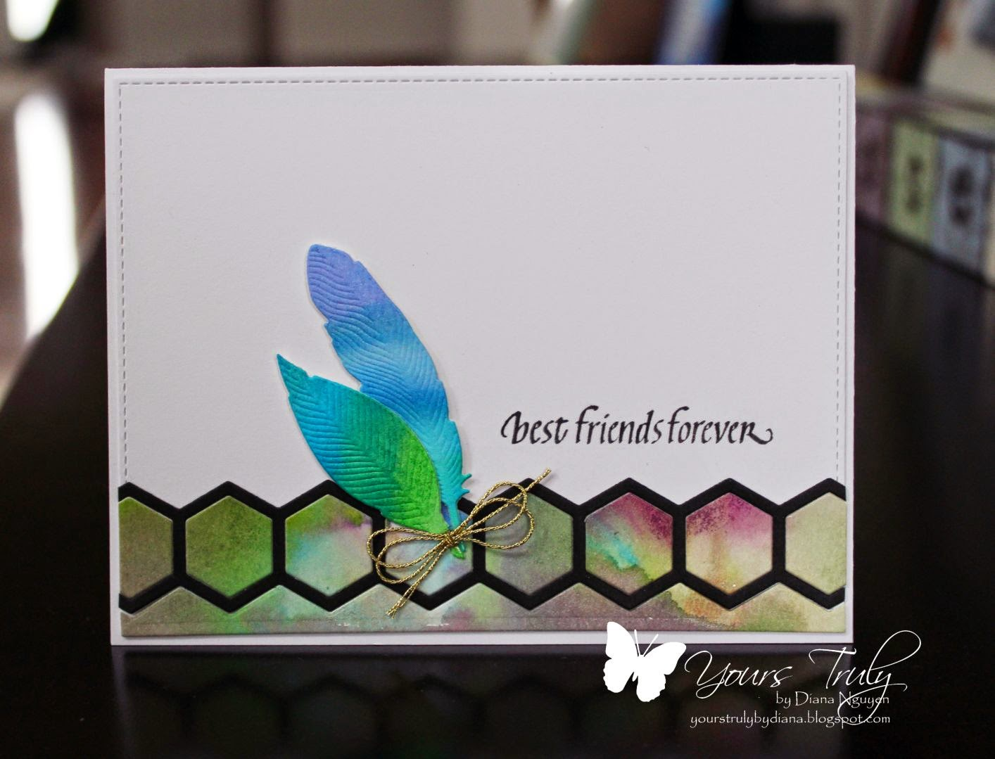 Diana Nguyen, MFT Hexagons, Quietfire Designs, CAS, feather, card