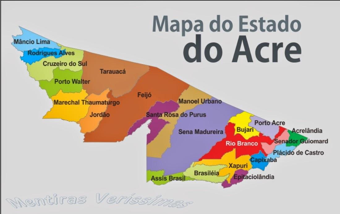 Mapa do Estado do Acre com seus municípios.