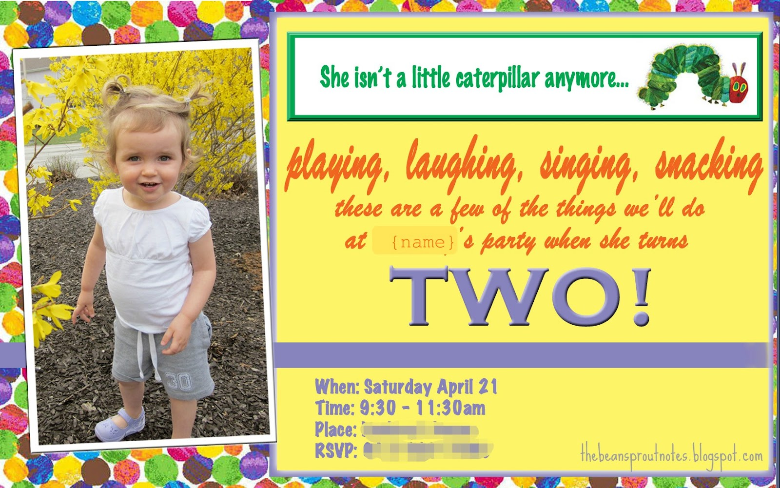 The Bean Sprout Notes A Very Hungry Caterpillar 2nd Birthday Party – 2 Year Old Birthday Invites