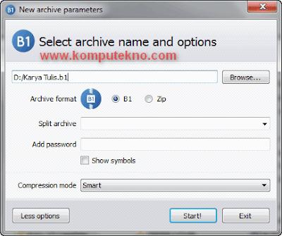 Kompres File dengan B1 Free Archiver