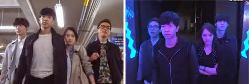 The rookies walk in slow motion in Gangnam station and again in a night club.
