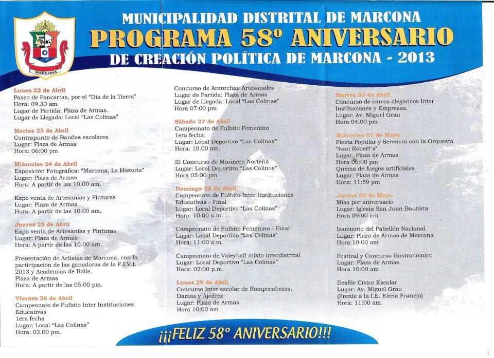 Programación oficial por el 58° aniversario de creación política ...