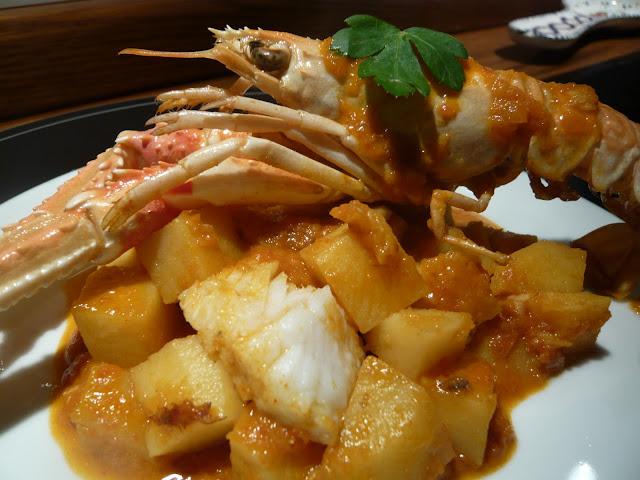La lengua de la mariposa guisado de patatas con bacalao y cigalas - Bacalao guisado con patatas ...