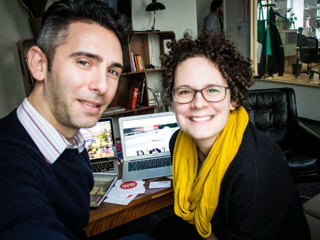 Crowdfunding Treffen von Simone Mathys-Parnreiter von wemakeit & Projektinititator Lars van Roosendaal