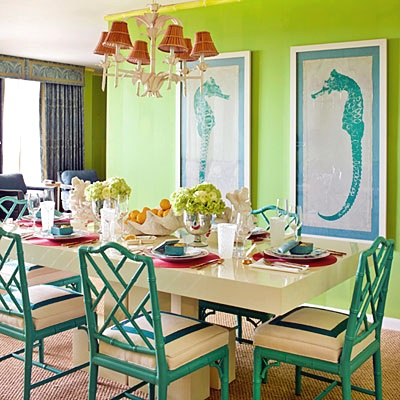 bright coastal dining room