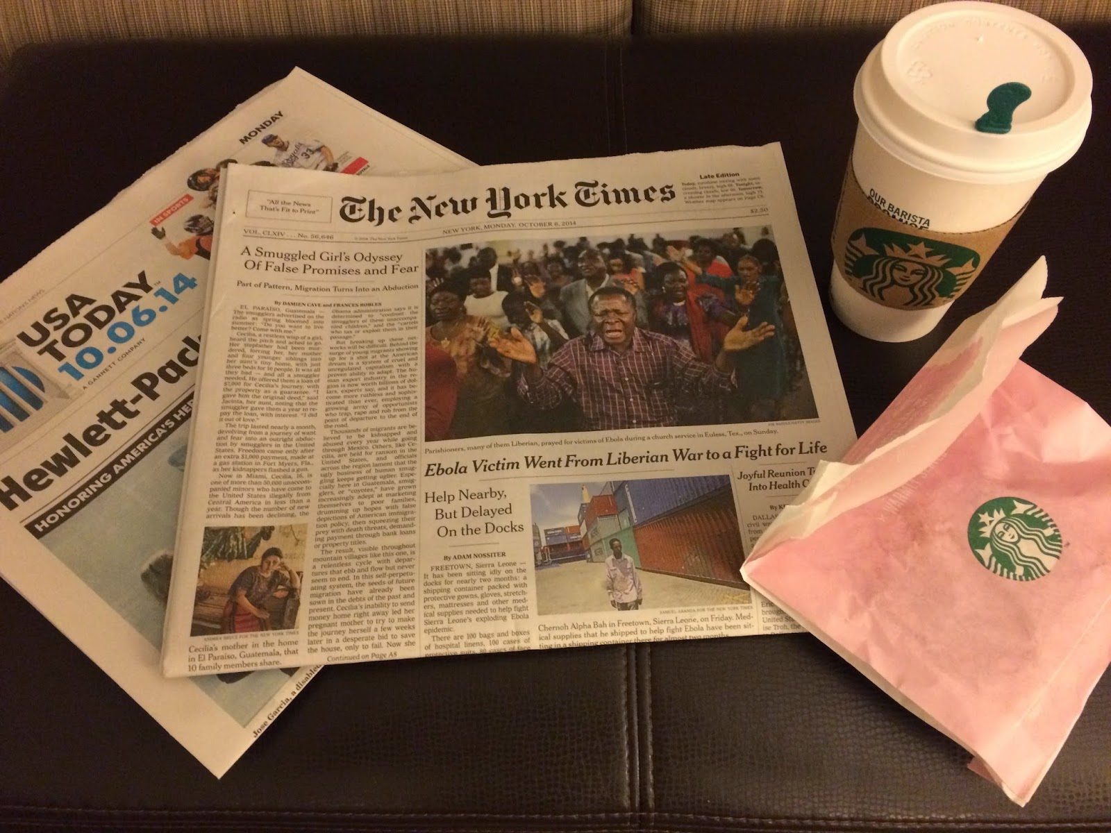 The New York Times with my morning coffee