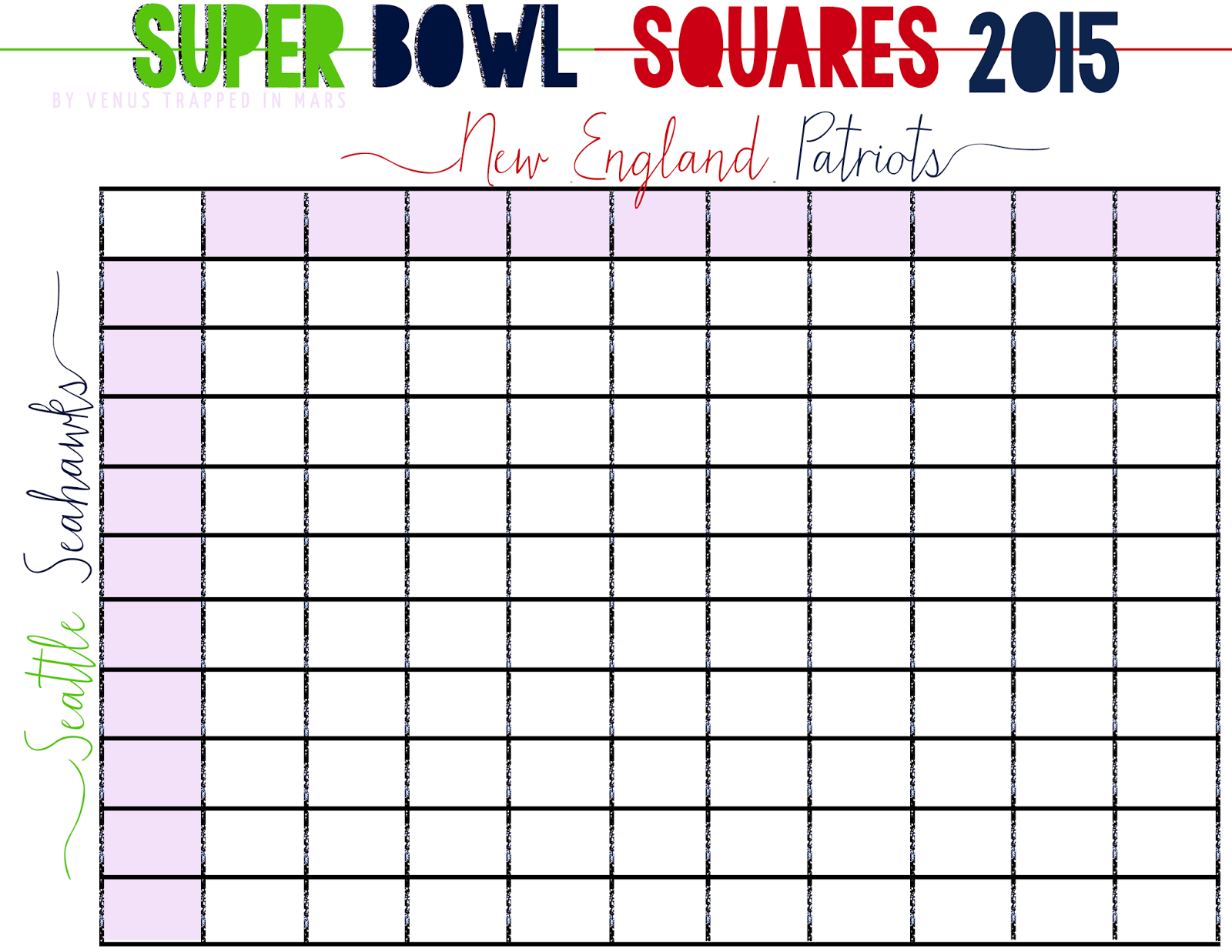 Super Bowl Squares 2015 Free Printable + How To Play Super Bowl ...