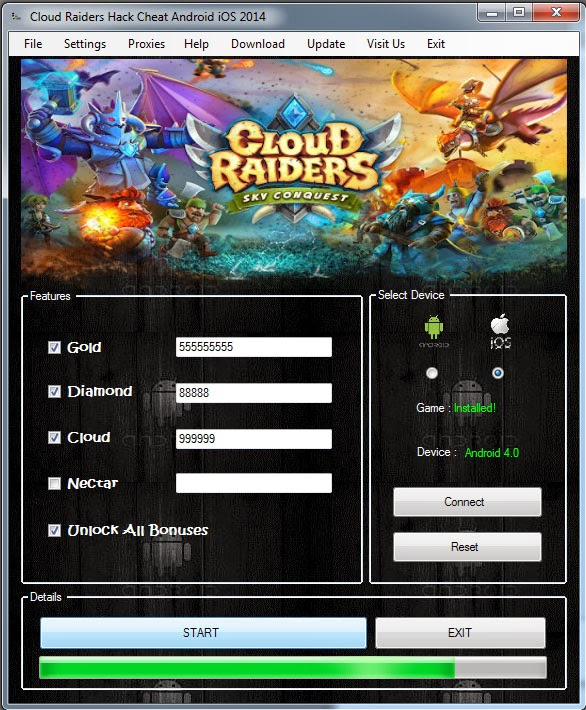 Cloud Raiders - Hack and Cheat Pack main screen
